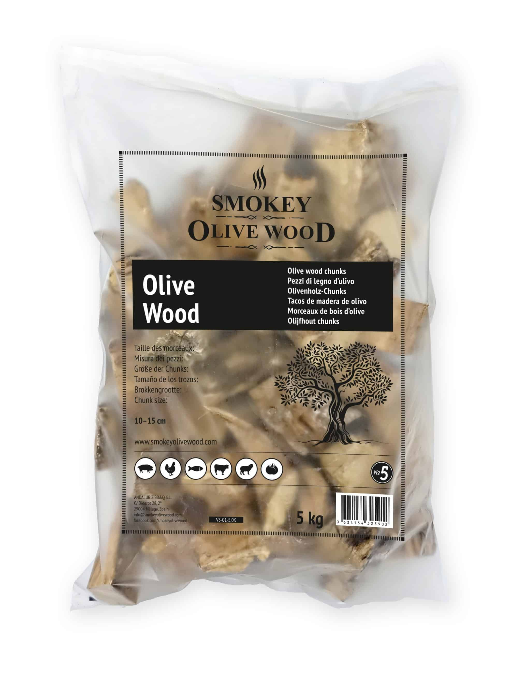 Smokey Olive Wood Raw Chunks Nº5 Smoking Chips Smoker BBQ Grill weber