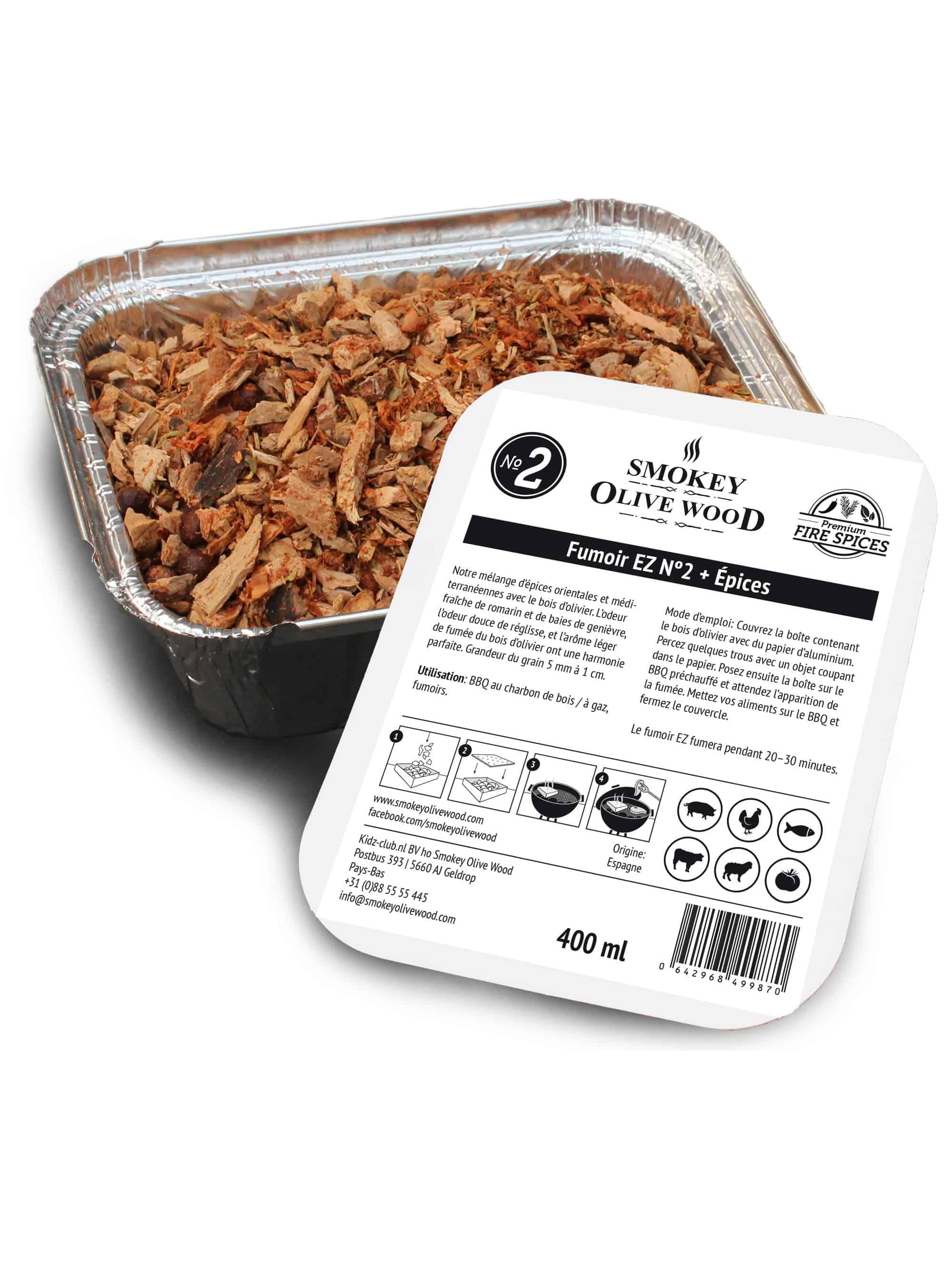 Smokey Olive Wood Fumoir EZ Nº2 + Épices Smoker BBQ Chips Grill Fumer